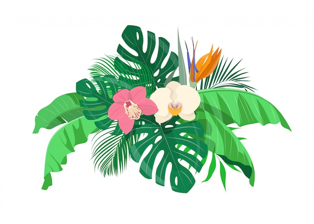 Jungle background with tropical leaves and exotic flowers.  illustration