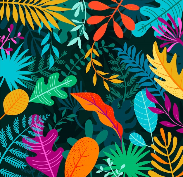 Jungle background with tropical palm leaves.