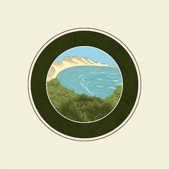 Jungle on beach lanscape logo template