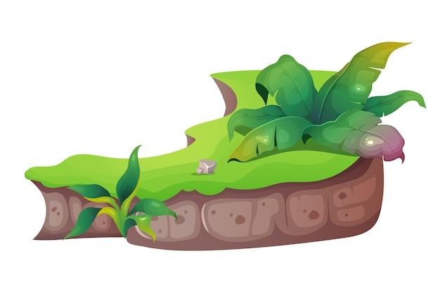 ジャングル漫画イラスト。熱帯の自然。草や茂みのあるエキゾチックな葉。植物と植生。グラウンドカットのフラットカラーオブジェクト。白い背景に分離された亜熱帯の性質