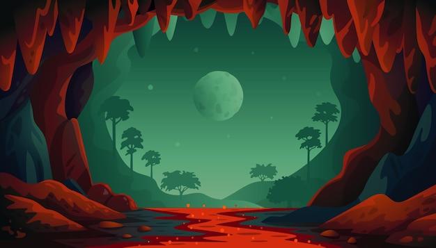 ジャングル洞窟の風景 Premiumベクター
