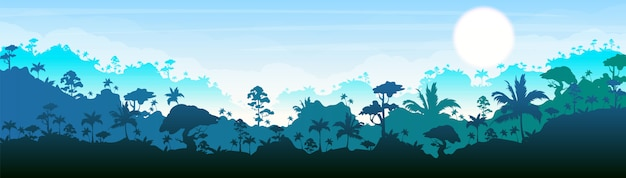 Jungle  color  illustration. blue forest scenery. bright panoramic woods. tropical scenic nature. idyllic environment. rainforest  cartoon landscape with layers on background