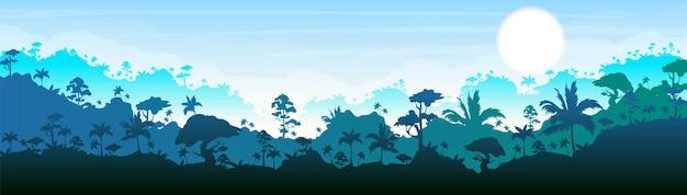 ジャングルカラーイラスト。青い森の風景。明るいパノラマの森。熱帯の風光明媚な自然。のどかな環境。背景のレイヤーを持つ熱帯雨林の漫画の風景