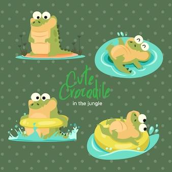 Jungle cute crocodile