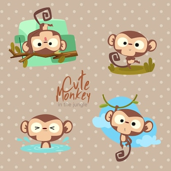 Jungle cute monkey