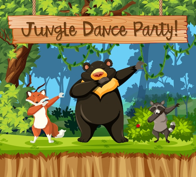 Jungle dance party animal scene
