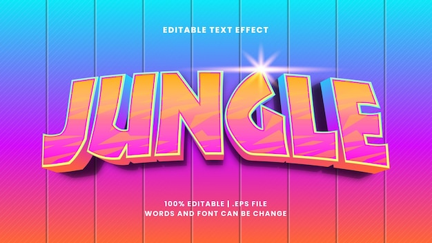 Jungle editable text effect in modern 3d style