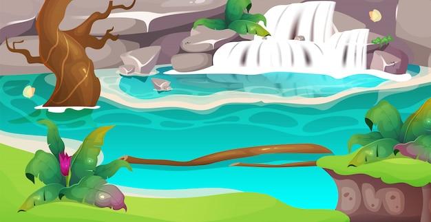 정글 플랫 컬러 일러스트입니다. 맑은 폭포. 레크리에이션과 여행을위한 이국적인 숲 속의 목가적 인 연못. 야생 환경. 배경에 녹지와 열 대 2d 만화 풍경