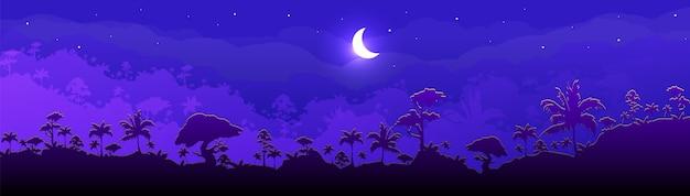 정글 플랫 컬러 일러스트입니다. 밤 숲 풍경. 멋진 달과 함께 파노라마 숲입니다. 달빛과 열 대 경치 좋은 자연. 배경에 레이어와 열대 우림 2d 만화 풍경