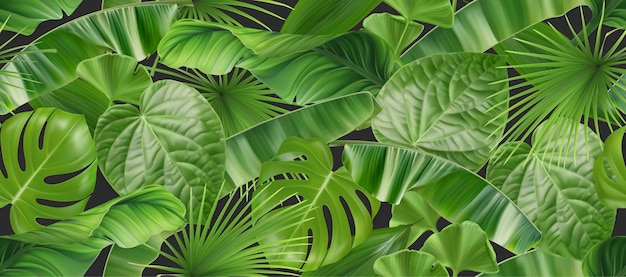Jungle foliage seamless pattern, 3d vector realistic background