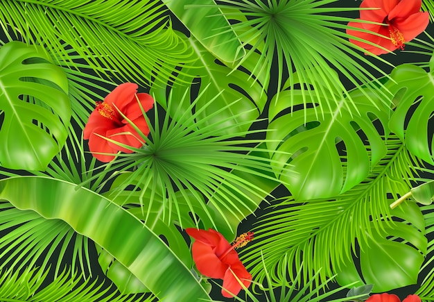 Jungle foliage seamless pattern.