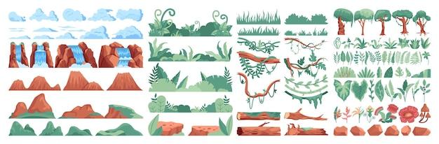 Набор конструкторов леса джунглей. тропические деревья, кусты и лианы. декоративная композиция из растений и цветов джунглей. горы, скалы и водопады. плоские векторные иллюстрации