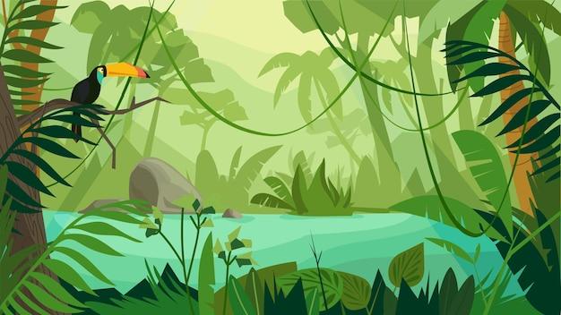Концепция лесного ландшафта джунглей в плоском мультяшном дизайне. тукан сидит на ветке, сцена с рекой, разными видами деревьев и растений. панорамный вид дикой природы. векторная иллюстрация горизонтальный фон
