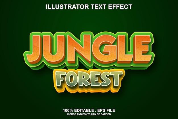 Текстовый эффект джунглей лес редактируемый