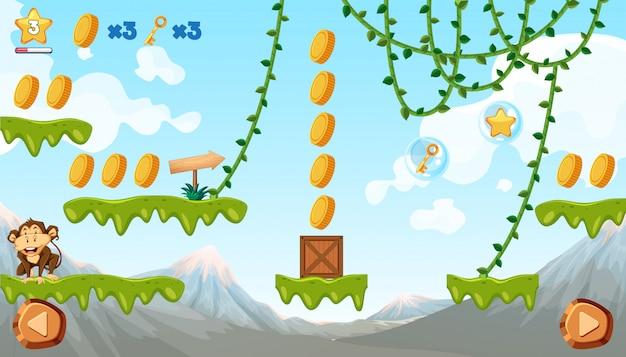 Шаблон игры для джунглей с обезьяной