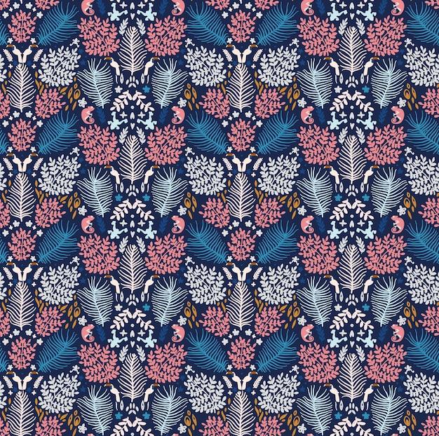 Джунгли в стилях ditsy и milfleur, лягушка-хамелеон, тукан, папоротник и листья монстеры