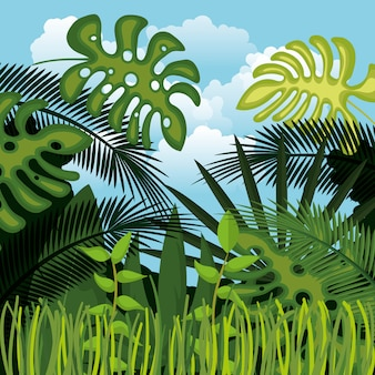 Jungle landscape background isolated icon design