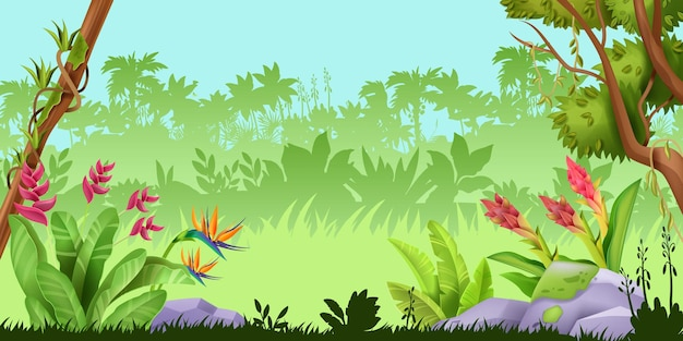 ジャングルの風景熱帯雨林の自然ゲームの背景