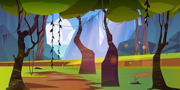 Paesaggio della giungla con montagne e mare all'orizzonte