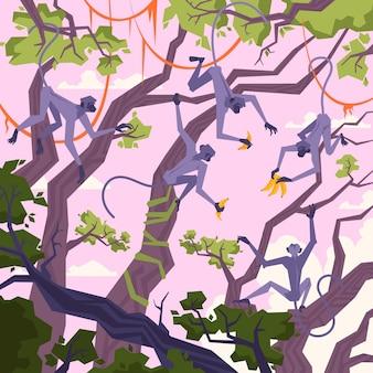 열대 나무 원숭이와 바나나 삽화가 있는 정글 풍경