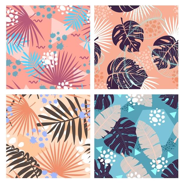 정글 잎 평면 원활한 패턴 세트. 크리 에이 티브 멤피스 스타일 열대 단풍 텍스처.