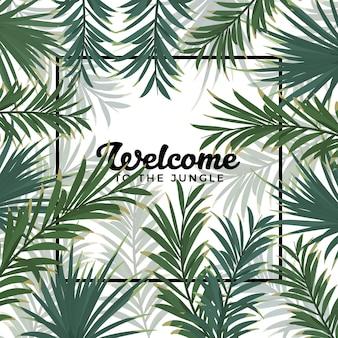 Jungle leaves frame background
