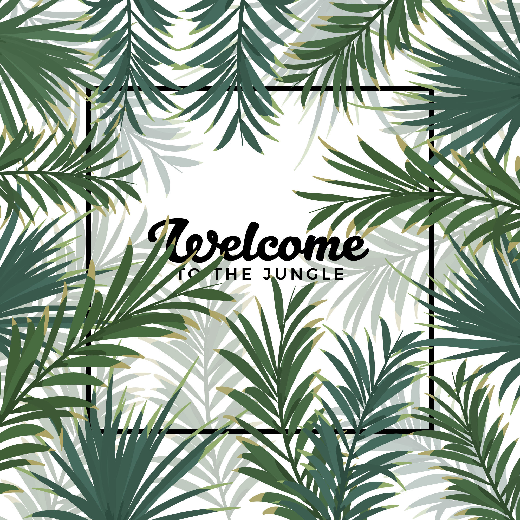 Jungle Leaves Frame Background