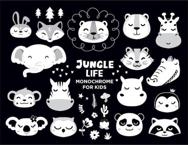 Jungle life animals for baby shower element
