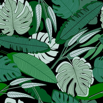 Jungle palm leaf seamless pattern. ttropical palm leaves wallpaper.