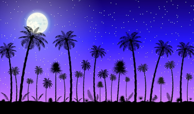 Силуэт джунглей панорама