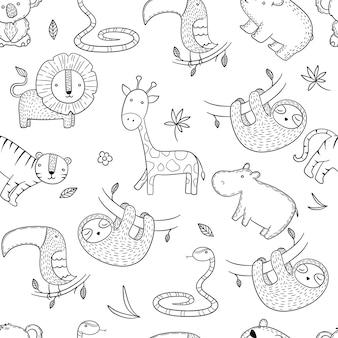 정글 패턴. 원활한 아프리카 야생 동물