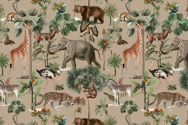 Jungle pattern background vector wild animals