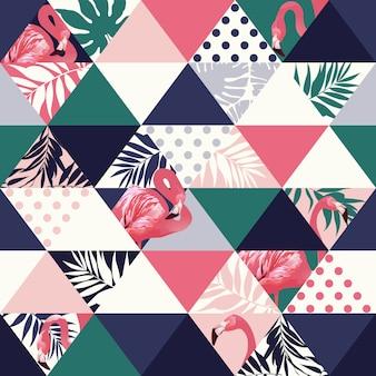 Jungle pink flamingos seamless pattern.