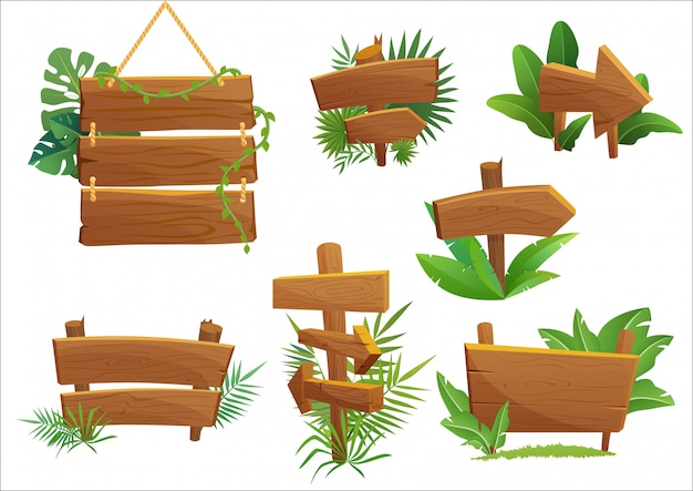 Jungle rainforest wood sign with tropical leaves with space for text. cartoon game illustration.