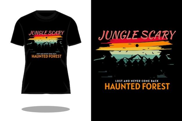 ジャングル怖いシルエットレトロtシャツデザイン