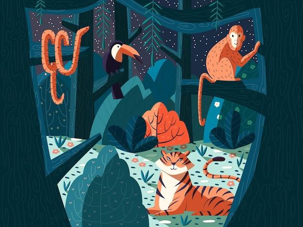 エキゾチックな動物とのジャングルシーン。トラ、サル、ヘビ、オオハシのいる夜の森。自然と木々。