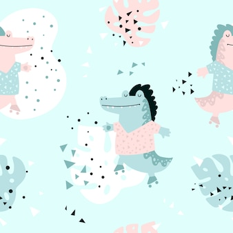 ワニとのジャングルのシームレスパターン