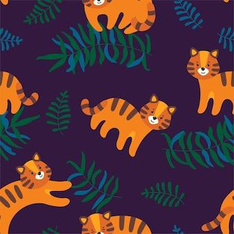 Бесшовный узор из джунглей с милыми тиграми и листьями на темно-фиолетовом фоне