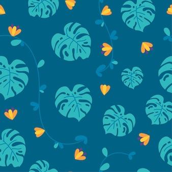 파란색 배경에 꽃 몬스테라 잎과 덩굴식물이 있는 정글 원활한 패턴