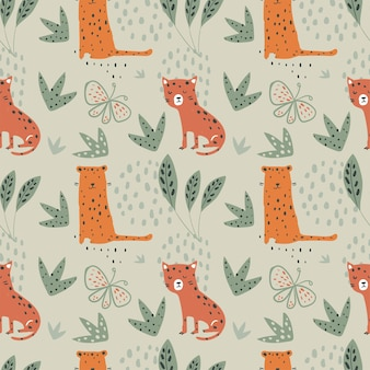 Jungle seamless pattern with funny leopards and tropical elements hand drawn vector illustration