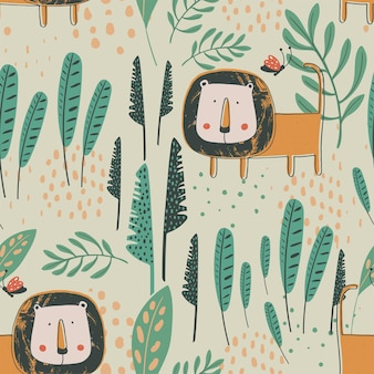 Jungle seamless pattern with funny tigers and tropical elements hand drawn vector illustration