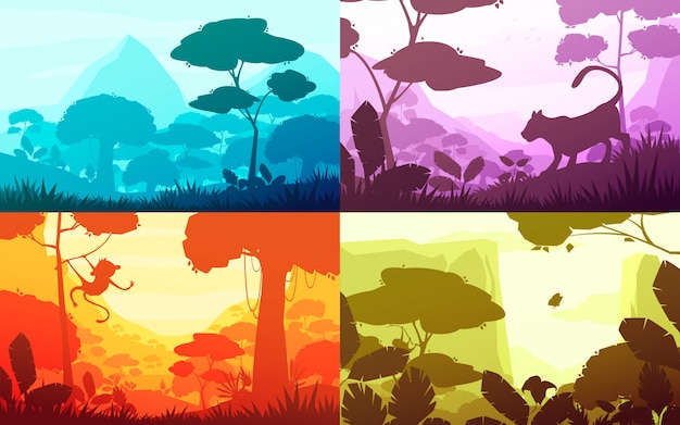 Jungle set of cartoon landscapes with rain forest illustration