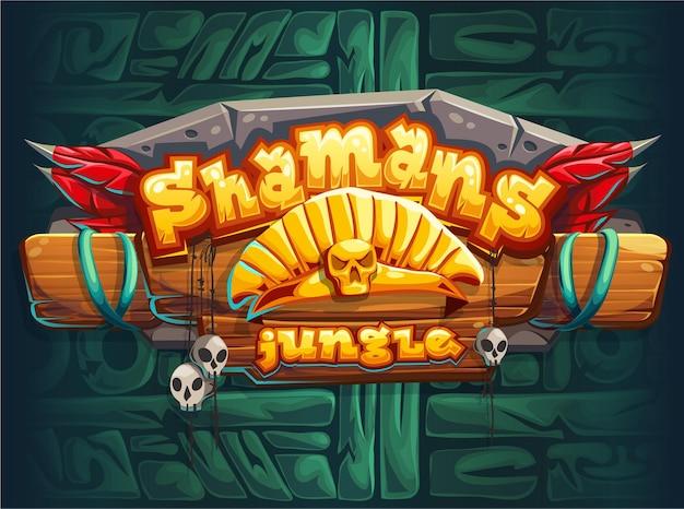 ジャングルシャーマンゲームのユーザーインターフェイスのメインウィンドウ画面。ベクトルイラスト