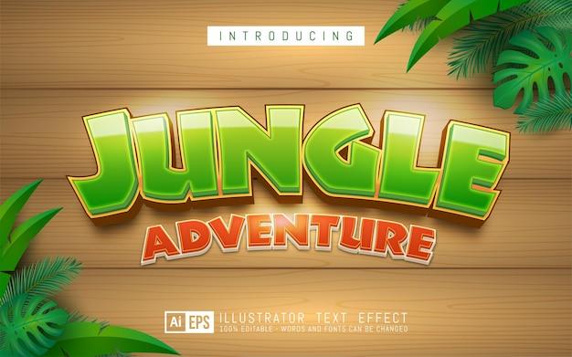 Текстовый эффект джунглей, редактируемый стиль текста 3d