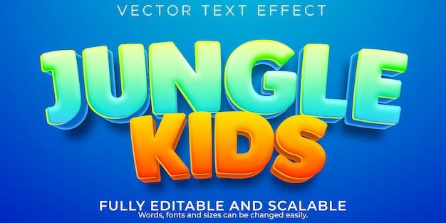 Текстовый эффект джунглей; редактируемый мультфильм и забавный стиль текста