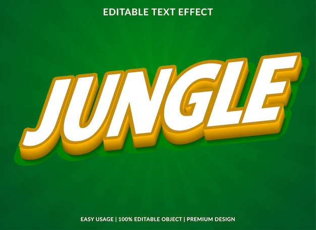 Jungle text effect with 3d bold style
