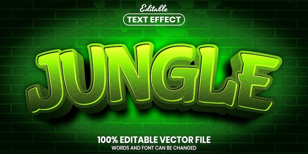 Jungle text, font style editable text effect