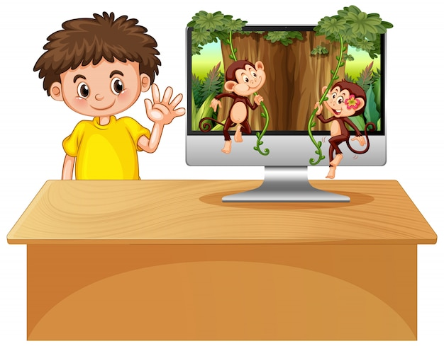 コンピューターの背景にジャングルのテーマ