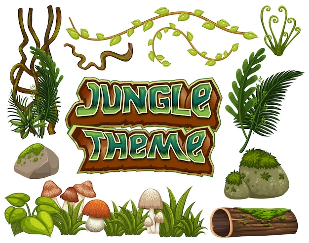 Jungle theme set of objects