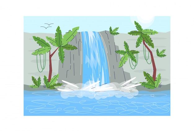 ジャングルの滝セミフラットイラスト。山から流れ落ちる水。楽園の湖。風光明媚な自然。岩の上に水滴。商業用の熱帯雨林の水流2d漫画風景